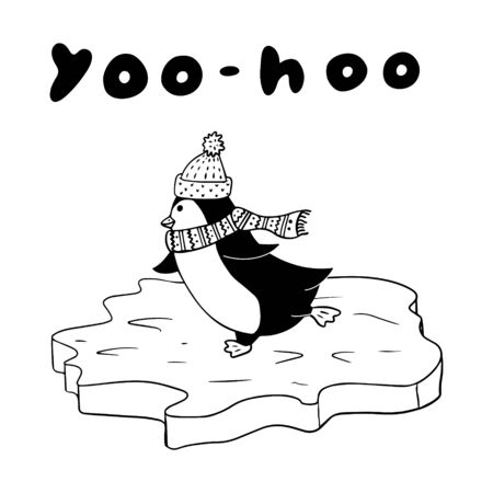 Black and white vector winter illustration in doodle style. Penguin is rolling on the ice. Drawn by hand, isolated on white.For design of postcards,children's clothing,posters. The inscription yoo-hoo Stock Illustratie