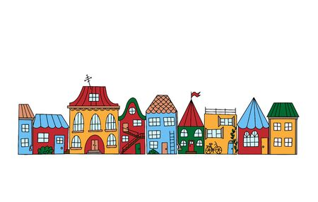 Color vector illustration. Set of houses in doodle style. Street with simple cute little houses. Illustration for children. Can use for coloring book. Object is hand-drawn and isolated on a white background.