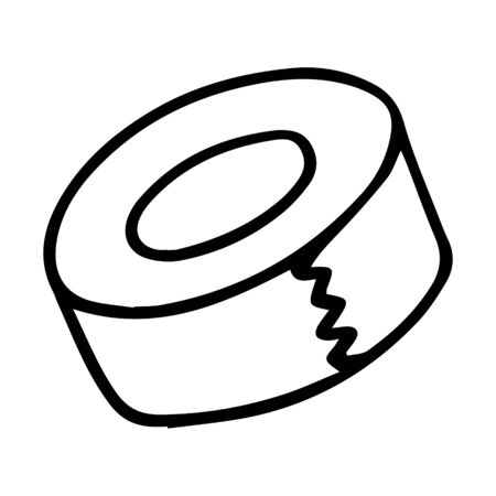roll of electrical tape or stationery tape. Drawn by hand, isolated on a white background. doodle style. Stationery for repair and creativity. Black and white vector illustration.