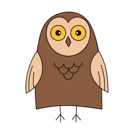 Cute owl. Color vector illustration. The object is isolated on a white background. Forest bird, predator stands and smiles. A simple picture for the design of children's clothing, posters, alphabets