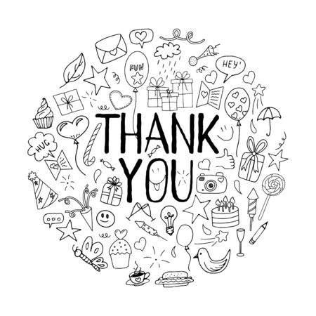 Black-white vector illustration with the inscription Thank you. Elements in doodle style drawn by hand and isolated on a white background. Concept for a printed poster or thank you card with drawings.