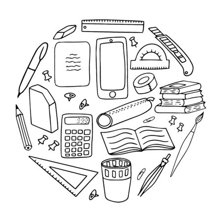 A set of stationery. Black and white vector illustration. Elements are hand-drawn and isolated on a white background. Office supplies for business, school and creativity. Doodle style.