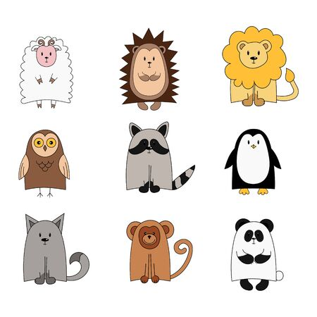 Set of cute animals for the design of children's clothing, alphabets. vector illustration. objects are isolated on white. Owl, Leo, Raccoon, monkey, hedgehog, owl, wolf, panda, penguin, ram sheep