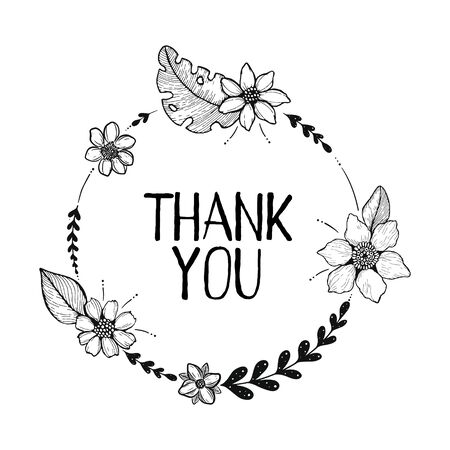 Black and white vector illustration with the words Thank you. Floral elements in doodle style. Round design. hand lettering. Frame with thank you note with hand-drawn leaves, flowers and twigs. Stock fotó - 138237787