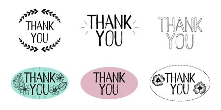 Set of illustrations with the words Thank you. Several vector sticker templates isolated on white background. Hand lettering with floral design. Frames with thank you inscription.