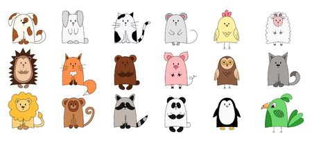 Set of cute animals for the design of childrens things. Color vector illustration. objects are isolated on white. Owl, Leo, Raccoon, monkey, chicken, parrot,fox,mouse.Wild forest and domestic animals