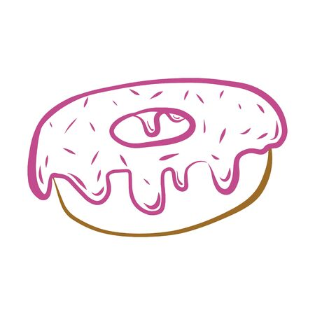 Donut with pink icing. Color vector illustration of a confectionery. Hand-drawn and isolated on a white background. Doodle style. Sweet dessert, pastries. Harmful, fatty foods. For menu design. Ilustracja