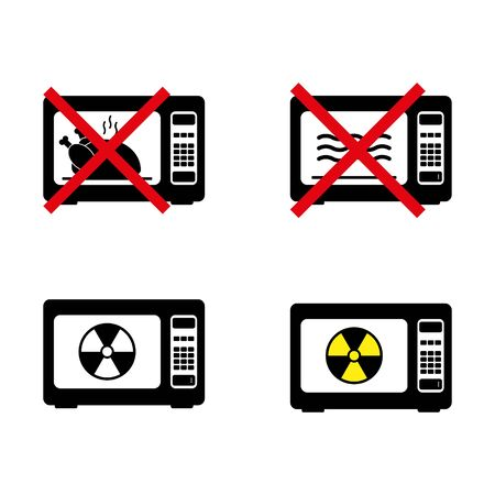 Prohibition, ban, no or stop signs. Microwave icons. Do not cook in the microwave. Cook in the electric stove symbol. Forbidden prohibited red characters. Vector illustration