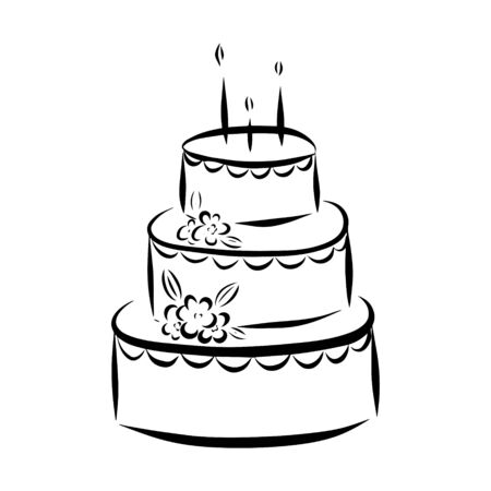 Three-layer cake with flowers. Color vector illustration. Hand-drawn and isolated on a white background. Sweet dessert. Can be used to decorate the menu of confectionery, weddings, birthday parties