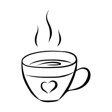 Black and white vector illustration in doodle style. Mug with hot coffee or tea. Cup with a heart. The element is drawn by hand and isolated on a white background. A simple drawing of a tea cup