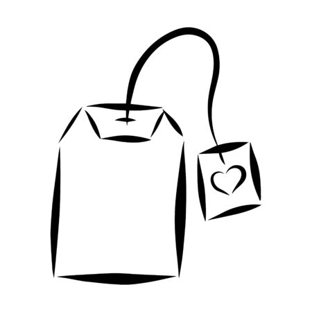 Black and white vector illustration in doodle style. Tea bag with a tag with a heart. The element is drawn by hand and isolated on a white background.