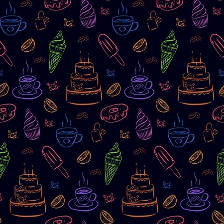 Seamless pattern of cupcakes, mugs with tea, coffee beans, cake and donut. Vector pattern of multi-colored elements on a dark background. Drawn by hand. For the design of confectionery packaging, menu