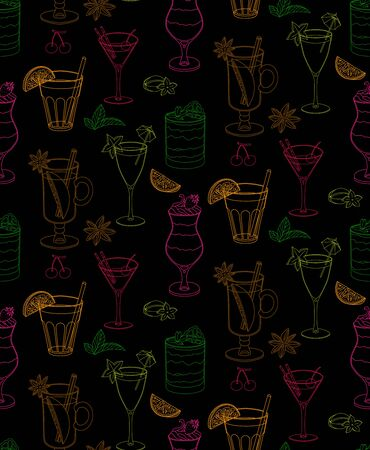 Seamless vector pattern with cocktails and ice cream. Pattern of multicolored outline elements on a black background.For the design of dessert menus, cocktail cards, wrapping paper.Hand-drawn elements