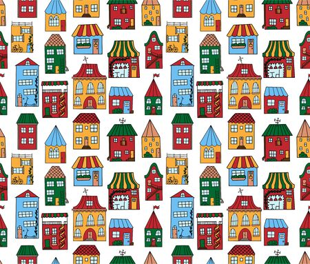 Seamless pattern with cute houses in doodle style. Colorful houses painted by hand,isolated on a white background. Pattern for baby design.For printing on linen, t-shirts, wrapping paper and wallpaper