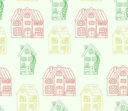 Seamless pattern with cute houses in doodle style. Colorful houses are drawn by hand, isolated on a light green background. Pattern for kids design. For printing on linen, t-shirts, wrapping paper.