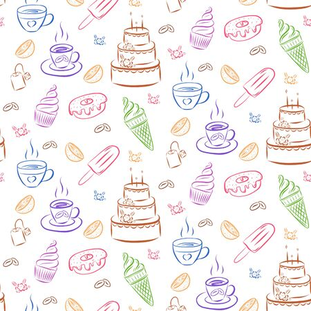 Seamless pattern of cupcakes, ice cream, coffee beans, cake, cake. Vector pattern of multi-colored elements on a light background. Drawn by hand. For the design of packaging for confectionery, napkins Illusztráció