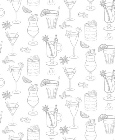 seamless vector pattern with cocktails and ice cream.Monochrome pattern of the elements with stroke on light background.for design of dessert menu,cocktail card,wrapping paper. Elements are hand-drawn