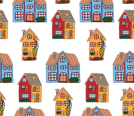 Seamless pattern with cute houses in doodle style. Colorful houses painted by hand, isolated on white background.Pattern for baby design. For printing on linen, t-shirts, wrapping paper and wallpaper