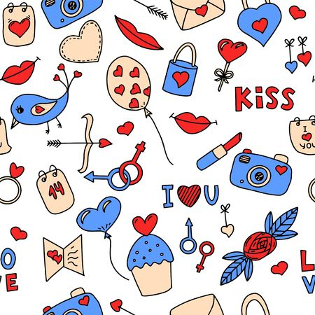 Seamless vector pattern with elements on the theme of Valentines Day. Ideal for wrapping paper, printing on clothes. Doodle color illustration. Objects are drawn by hand on a white background.