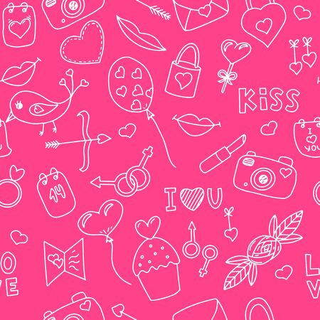 Seamless vector pattern with elements on the theme of Valentines Day. Ideal for wrapping paper, printing on clothes. Objects are hand-drawn in a doodle style. white stroke on a pink background