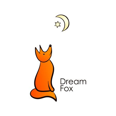 Color vector illustration with a fox. The element is drawn by hand and isolated on a white background. Logo design with a fox looking up at the moon and a six-pointed star. Gradient fill.