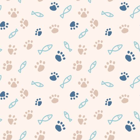 Seamless pattern with simple fish and paw print from cat steps. Color vector illustration. Design for packaging goods or textiles for animals. Objects are hand-drawn in a doodle style. Illusztráció