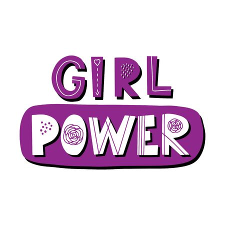 Motivating phrase Girl power. Hand lettering. Color bright vector illustration. Design for poster, sticker for womens communities. Each letter with a pattern. Drawn by hand. Isolated on white.
