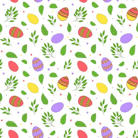 Seamless vector pattern. Painted Easter eggs with leaves, branches and flowers. Easter design for wrapping paper, card or textile. Objects are drawn by hand on a white background.