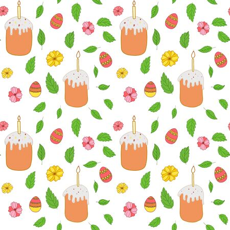 Seamless vector pattern. Easter cake, painted easter eggs with leaves, branches and flowers. Design for wrapping paper, card or textile. Objects are drawn by hand on a white background. Illusztráció