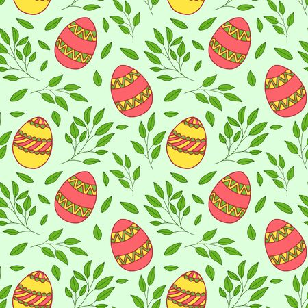 Seamless vector pattern. Painted Easter eggs with branches and flowers. Design for wrapping paper, card or textile. Objects are drawn by hand on a light green background. Illusztráció