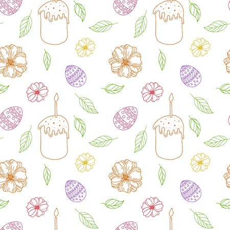 Seamless vector pattern. Easter cake, painted easter eggs with leaves, branches and flowers. Design for wrapping paper, card or textile.Objects are drawn by hand on a white background. Outline drawing