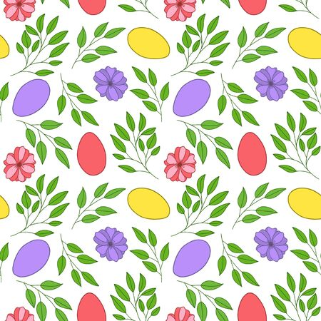 Seamless vector pattern. Painted Easter eggs with leaves, branches and flowers. Design for wrapping paper, card or textile. Objects are drawn by hand on a white background. Illusztráció