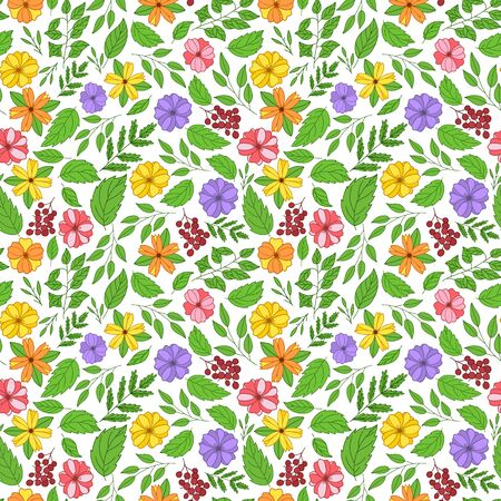 Bright floral seamless pattern.Flowers,twigs,leaves.Color vector illustration. Spring, summer design of wrapping paper and textiles. Element with stroke are located tightly to each other,drawn by hand.