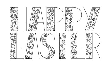 Black-white vector illustration with the words happy easter.Rectangular form.Geometric letters are filled with hand-drawn flowers and leaves.Element for Easter decorations.Isolated on white background