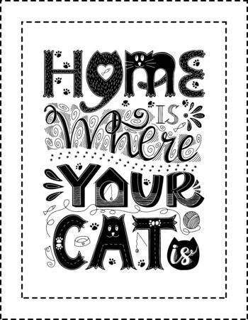Poster with a frame.Hand lettering.Words Home is where your cat is.Design poster for cat lovers.Each word is drawn in different styles.Rectangular shape.Black white vector illustration.Ready for print