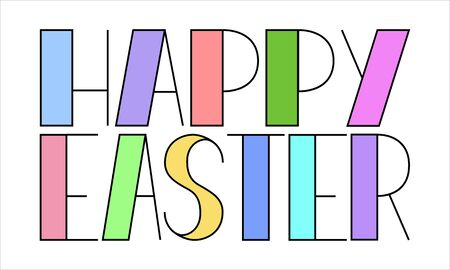 Color vector illustration with the words happy easter. Geometric letters in different colors. Element for the design of Easter decorations. Isolated on a white background. 矢量图像