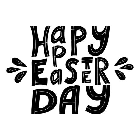 Black White vector illustration with the words Happy Easter. Hand lettering. The poster is square in shape. Congratulations on Easter. The letters are hand-drawn and isolated on a white background. 矢量图像