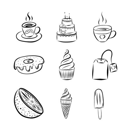 Black and white vector illustration in doodle style. A set of elements. Mug with coffee or tea, cake, ice cream, cupcake, lemon, donut,  tea bag. Hand-drawn and isolated on a white background