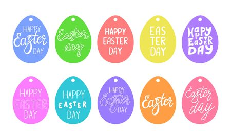 Set of gift tags in the shape of an egg with the inscription Happy Easter. Color vector illustration. Hand lettering. Drawn by hand, isolated on a white background.