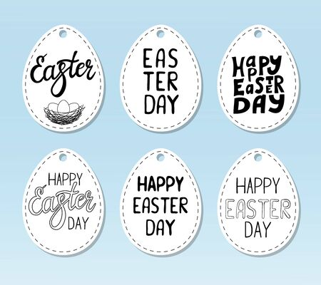 Set of gift tags in the shape of an egg with the inscription Happy Easter. Black-white vector illustration. Hand lettering. Elements and text are drawn by hand, isolated on a white background.