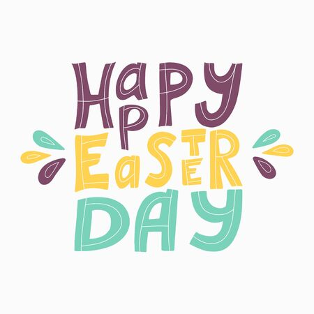 Color vector illustration with the words Happy Easter. Hand lettering. The poster is square in shape. Congratulations on Easter. The letters are hand-drawn and isolated on a white background. Illusztráció