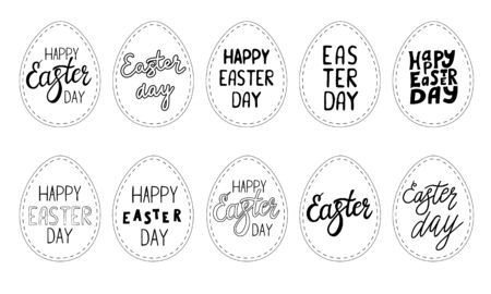 Set of gift tags in the shape of an egg with the inscription Happy Easter. Black-white vector illustration. Hand lettering. Elements and text are drawn by hand, isolated on a white background