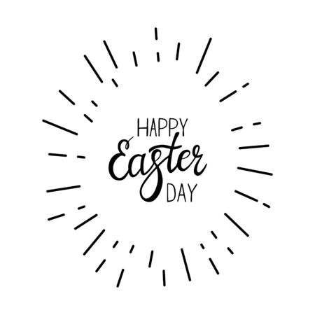 Black-white vector illustration. In the shape of an egg with the inscription Happy Easter. Hand lettering. Elements and text are drawn by hand, isolated on a white background Illusztráció