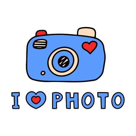Doodle style camera with the words I love photo. Color vector illustration. Drawn by hand, isolated on a white background. Phrase for poster design, card, t-shirt print or mug print. Illusztráció