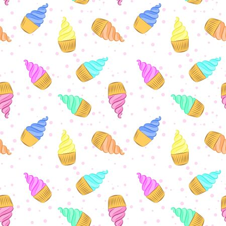 Seamless pattern with cupcakes with cream.Color bright vector illustration of a confectionery. Hand-drawn.Design for packaging cakes,cakes, printing on fabric.Sweet dessert, pastries of various colors Illusztráció