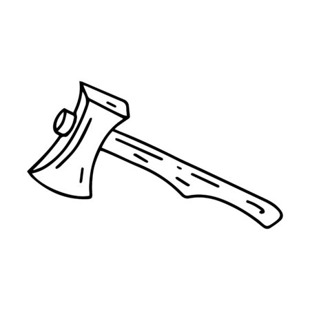 Metal ax with a wooden handle. Doodle style. Black and white vector illustration. The element is hand-drawn and isolated on a white background. Camping Travel Equipment.