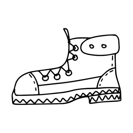 Hiking boot in doodle style. Black and white vector illustration. hand-drawn isolated on a white background. Shoes for travel, hiking and an active lifestyle
