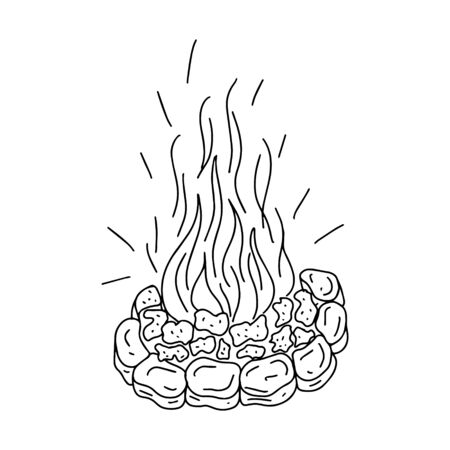 Burning bonfire with coals and sparks. Stone fireplace. Doodle style. Black and white vector illustration. The element is hand-drawn and isolated on a white background. Camping, burning firewood