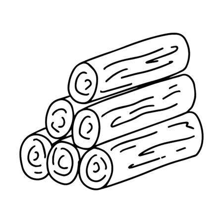 Stacked firewood. Doodle style,Black and white vector illustration. element is hand-drawn and isolated on a white background. Illustration on the theme of camping, camping, forest. Logging firewood
