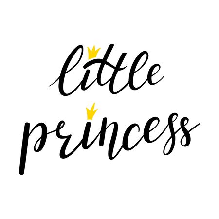 Hand lettering with a crown and with the words - Little Princess. Black and white vector. Print design for t-shirt or baby clothes. Isolated on white background. Bounce lettering.
